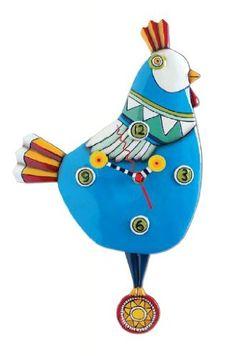 "Allen Design Studios ""Funky Chicken Blue"" Resin Wall Clock Allen Design Studios http://www.amazon.com/dp/B00B0Z8BUK/ref=cm_sw_r_pi_dp_rrmZub1NNYVZ0"
