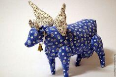 Купить Коровка текстильная - голубой, коровка, корова, игрушка в подарок, игрушка ручной работы