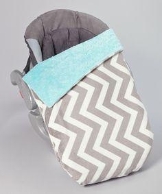 Lolly Gags Tiffany Blue & Silver Zigzag Minky Car Seat Blanket by Lolly Gags #zulily #zulilyfinds