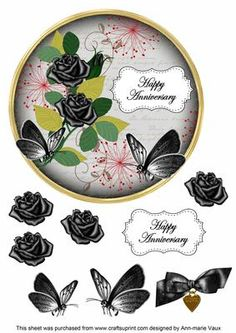 Black Rose Happy Anniversary 7in Circle Decoupage Topper on Craftsuprint - Add To Basket!