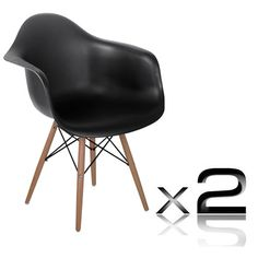* Inspiredby Charles Eames in the mid century, this set of Replica Eames DAW Armchair serves the purpose of providing seating comfort with a beautiful design. The simple structure is built with a plastic seat supported by a set of durable steel fixings and four beech wooden legs.   http://www.rosaelonline.com.au/product/2-x-replica-eames-cafe-chairs-beech-black/
