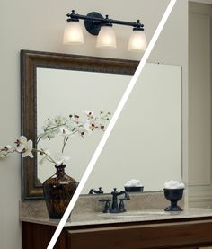 A frame in MirrorMate's Grandezza style was added directly to the plate glass bathroom mirror - while the mirror was on the wall. The dark frame really pops and completes the bathroom update. #frameyourmirror