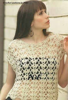 Woman Crochet Pattern in pdf, top, Cover .. $4.99, via Etsy.