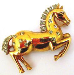 Fabulous Trifari Rhinestone Studded Figural Horse Brooch Alfred Philippe Design | eBay