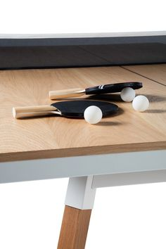 You and Me Oak Table Tennis Table - Standard - It's a ping-pong table. The large version of the Oak Table, Dining Table, Table Desk, Dining Room, Small Furniture, Furniture Design, Wood Furniture, Outdoor Furniture, House Games