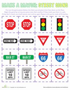 Does your child know what all the street signs mean? Give him a fun game where he can learn different street signs and practice memorization!