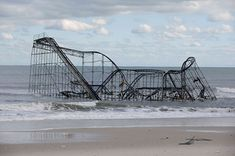 In New Jersey, Sandy destroyed several blocks of Atlantic City's world-famous boardwalk and wrecked several other boardwalks up and down the coast. A Seaside Heights roller coaster was left partially submerged in the ocean.