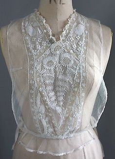 Antique/vintage whitework muslin and lace chemisette