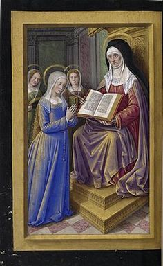 Grandes Heures of Anne of Brittany (Les Grandes Heures d'Anne de Bretagne in French) St Anne teaching the Virgin to read by Jean Bourdichon BNF Latin 9474 Medieval Manuscript, Medieval Art, Illuminated Manuscript, Catholic All Year, Roman Catholic, Grumpy Baby, Tarot, Lives Of The Saints, Illumination Art