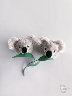 Step-by-step full length video tutorial / free craft tutorial for making a cute animal pompom koala by Pom Maker