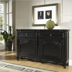Pulaski Accents Tara Hall Chest in Black Antique Rub - Features: Tara finish Brass finished hardware Two drawers Two doors One wood shelf behind each door
