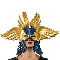 Blue and Gold Seraphim Leather Mask by skrocki on Etsy Natural Highlights, Leather Mask, Ancient Ruins, Beautiful Textures, Custom Leather, Halloween Masks, Hand Carved, Sculpting, To My Daughter