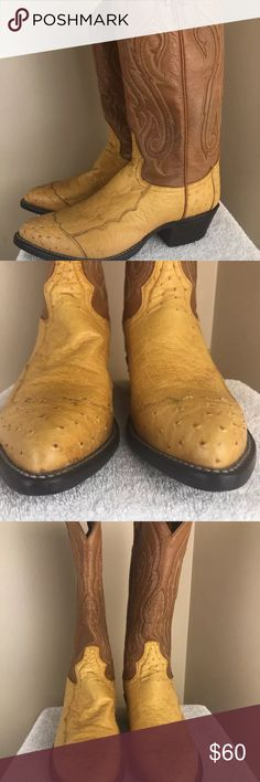 TONY LAMA Style 9043 Women's 6.5! Ostrich! These are adorable western boots! Peanut brittle and Brown leather boots. Toes and heels are ostrich. Size 6.5!  Thanks for stopping by! Please follow me for new items as I add often!   Make an offer or create a bundle for additional savings. Tony Lama Shoes Heeled Boots