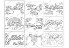 """Adult Coloring Page Swear The swearing words """"Pack 9 swear"""" Doodles - 2 background white and black - fuck by PicToGraphique on Etsy"""