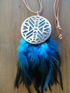 #misa #bijoux  #plume #sautoir #cuir #bleu #doré #native misa-b.com