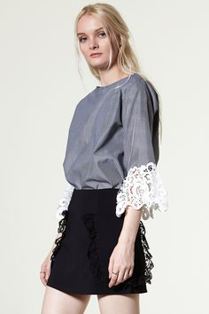 Amberin Lace Pocket Skirt Discover the latest fashion trends online at storets.com #Ruffle Off the Shoulder Blouse  #Check Off the Shoulder Blouse