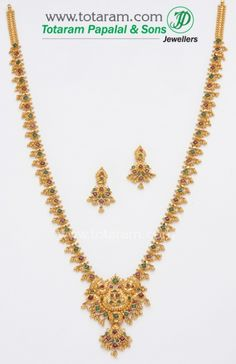 Check out the deal on 22K Gold Ruby Necklace & Drop Earrings set at Totaram Jewelers: Buy Indian Gold jewelry & 18K Diamond jewelry