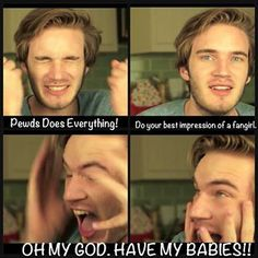 I know this doesn't seem to be directed at us beliebers, but Pewds has nailed what we do when we fangirl! Pewdiepie, Markiplier, Best Youtubers, Youtube Gamer, Smosh, I Laughed, Haha, Fan Girl, Laughter