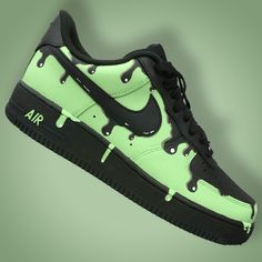 Custom Painted Nike Air Force One Shoes Green Slime Drip Nike Air Force Ones, Air Force One Shoes, Sneakers Mode, Custom Sneakers, Sneakers Fashion, Nike Custom Shoes, Mode Steampunk, Custom Painted Shoes, Hype Shoes
