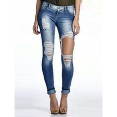 Cut Out Rough Big Holes Curled Long Skinny Jeans Jeans Skinny Branco, White Skinny Jeans, Distressed Skinny Jeans, White Denim, Skinny Pants, Blue Denim, Blue Jeans, Legging Jeans, Leggings Are Not Pants