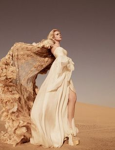 ♂ Fashion editorials photography lady in cream feminine beauty dress flow beige desert