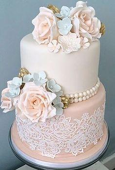 simple elegant chic wedding cakes vintage cake with flowers facsantos Fancy Wedding Cakes, Wedding Cake Photos, Beautiful Wedding Cakes, Wedding Cake Designs, Fancy Cakes, Beautiful Cakes, Chic Wedding, Perfect Wedding, Rustic Wedding