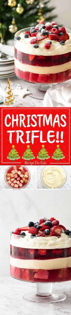 Layers of Cranberry Jelly and custard, and piled high with whipped cream and fruit, this Christmas Trifle will brighten any table! Christmas Trifle, Christmas Desserts, Christmas Treats, Christmas Menus, Christmas Foods, White Christmas, Trifle Dish, Trifle Recipe, Xmas Food