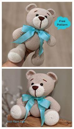 Crochet Teddy Bear Pattern Free, Teddy Bear Patterns Free, Knitted Teddy Bear, Crochet Baby Toys, Crochet Amigurumi Free Patterns, Crochet Animal Patterns, Crochet Geek, Diy Teddy Bear, Knitting Bear