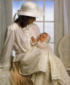 Baby KNITTING PATTERN - Christening Dress, Bonnet and Shawl 16 - 18 inch chest