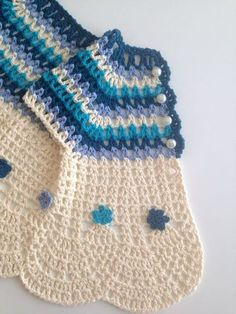 "Crochet Cream Blue Pure Cotton Baby Girl by QueensAccessories ""This baby cardigan is made of best quality pure cotton very soft yarns. Has crochet flowers Knitting For Kids, Baby Knitting Patterns, Crochet For Kids, Baby Patterns, Crochet Patterns, Crochet Summer, Crochet Baby Sweaters, Baby Girl Sweaters, Crochet Baby Clothes"