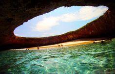 Hidden Beach on Marieta Islands - known as Playa De Amor, or the 'Beach of Love',