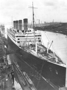 SS Aquitania at dock in Liverpool