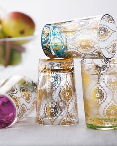 """Four """"Moroccan"""" Tea Glasses - Horchow from Horchow. Saved to Kitchen. Shop more products from Horchow on Wanelo. Moroccan Design, Moroccan Decor, Moroccan Style, Moroccan Party, Moroccan Kitchen, Moroccan Room, Moroccan Print, Ethnic Decor, Ethnic Chic"""
