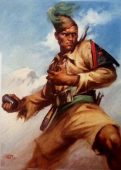"""Regio Esercito - Painting of a WWII Etritrean Escari soldier. The Eritrean Ascari were indigenous soldiers from Eritrea, who were enrolled as askaris in the """"Royal Corps of Colonial Troops"""" of the Italian Army."""