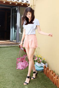 #k-fashion #itsmefashion #asian fashion cute combination of lilac shirt and coral shorts