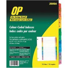 OP Brand Index Divider Filing, Divider, Chart, Organization, Getting Organized, Organisation, Divider Screen