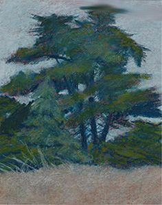 """Lighthouse Field #4,"" oil pastel, by artist Susan W. Trimingham"
