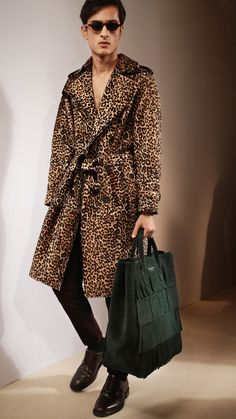 Animal Print Shearling Trench Coat: One of my favourite runway looks from the Prorsum Menswear A/W15 show