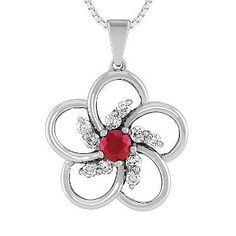 Round Ruby and Diamond Pendant (18 in.) #ShaneCoLBD