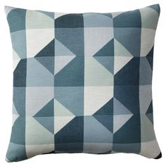 IKEA - SVARTHÖ, Cushion cover, green/blue, Jacquard weave gives the cushion cover a pattern with a subtle, slightly raised relief. The zipper makes the cover easy to remove. Cushion Pads, Cushion Covers, Pillow Covers, Ikea Vallentuna, Ar Fresco, Modular Corner Sofa, Flexible Furniture, Recycling Facility, Ikea Family