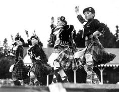 Highland dancers compete for honours at the Braemar Gathering. 1952.