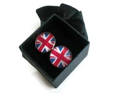Cuff Links Resin Union Jack Flag Red White Blue Photo by Careish, £12.00