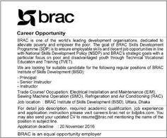 Brac Institute of Skills Development Job Circular