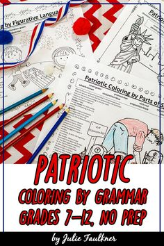 In this fun set of coloring pages for July 4th, Memorial Day, and Veterans' Day, students are are working on standards while coloring!! Students must identify the parts of speech or figurative language used in sentences or patriotic-themed song lyrics in order to complete the coloring pages.