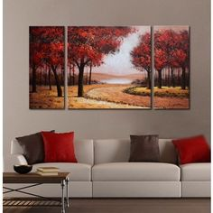 Shop for Hand-painted 'Red Autumn Forest' 3-piece Gallery-wrapped Canvas Art Set. Get free delivery at Overstock.com - Your Online Art Gallery Store! Get 5% in rewards with Club O!