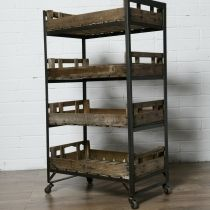 Vintage metal shelves: Very attract vintage wood and metal shelving and rack storage unit system solutions. Office Shelving, Shelving Racks, Table Shelves, Metal Shelves, Repurposed Wood, Repurposed Furniture, Vintage Furniture, Diy Furniture, Home Beauty Salon