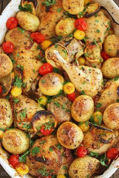 Easy Roasted Lemon Chicken with Tomatoes and Potatoes (I'm doing this with skinless breasts)