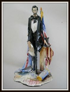"LO SCRICCIOLO Moretto SCULPTURE ~ Abraham 'Abe' Lincoln ""Civil War Battle Flags"" 