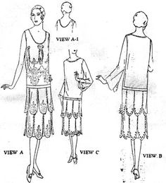 Butterick 1048. 1926 Ladies Slip over one piece dress day or evening neck. CoPA. with picture of pattern pieces