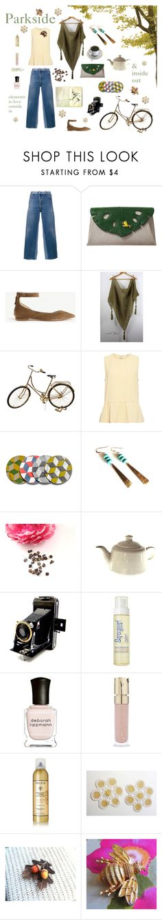 """""""Parkside"""" by seasidecollectibles ❤ liked on Polyvore featuring RE/DONE, Charlotte Olympia, Moleskine, Ann Taylor, Scialle, Ganni, Dessous, Kodak, Supergoop! and Deborah Lippmann"""